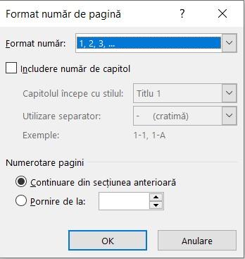 Fereastra Formatare numar de pagina