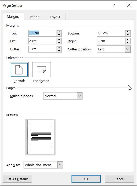 Fereastra Page Setup