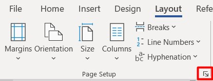 Secțiunea Page Setup