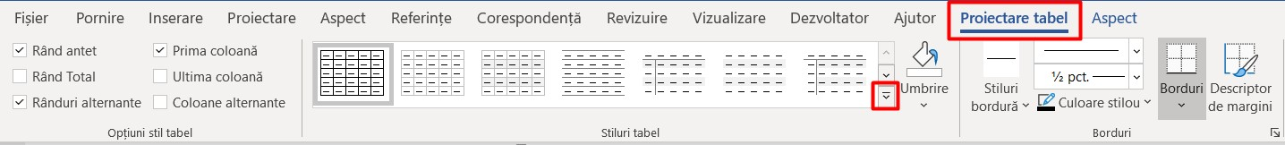 Stiluri tabel