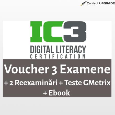 Voucher IC3 3 examene cu 2 reexaminări + Gmetrix + Ebook