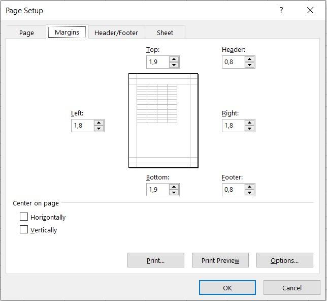 Fereastra Page Setup Excel - Margins