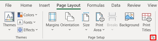 Secțiunea Page Setup Excel