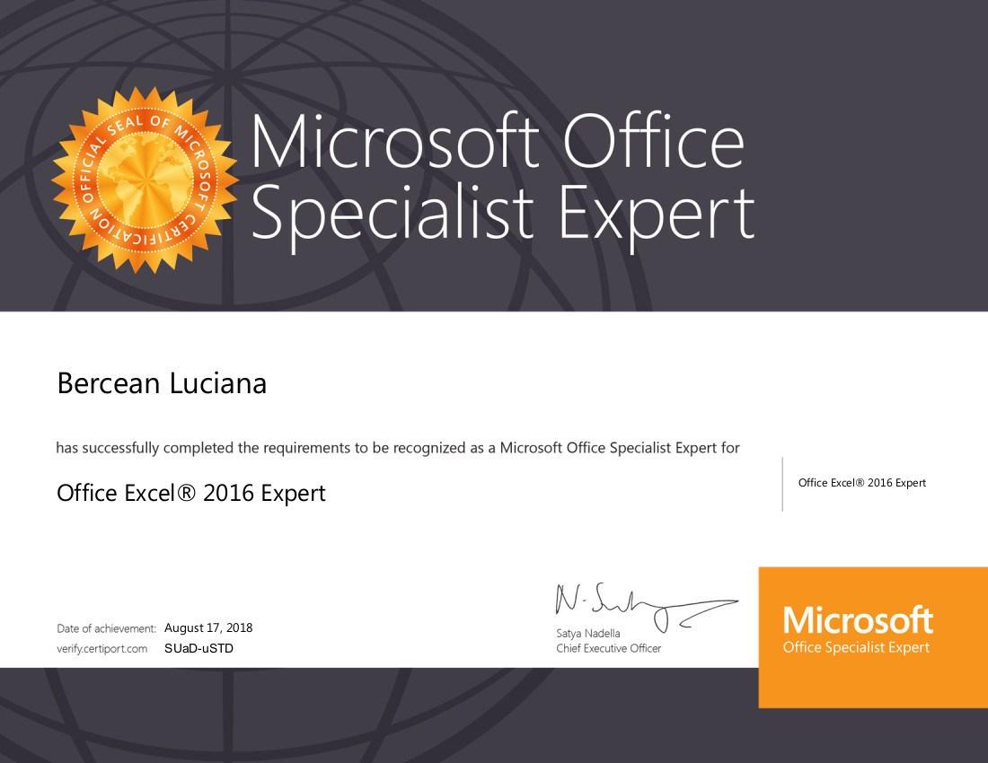 Certificat MOS Expert Luciana Bercean