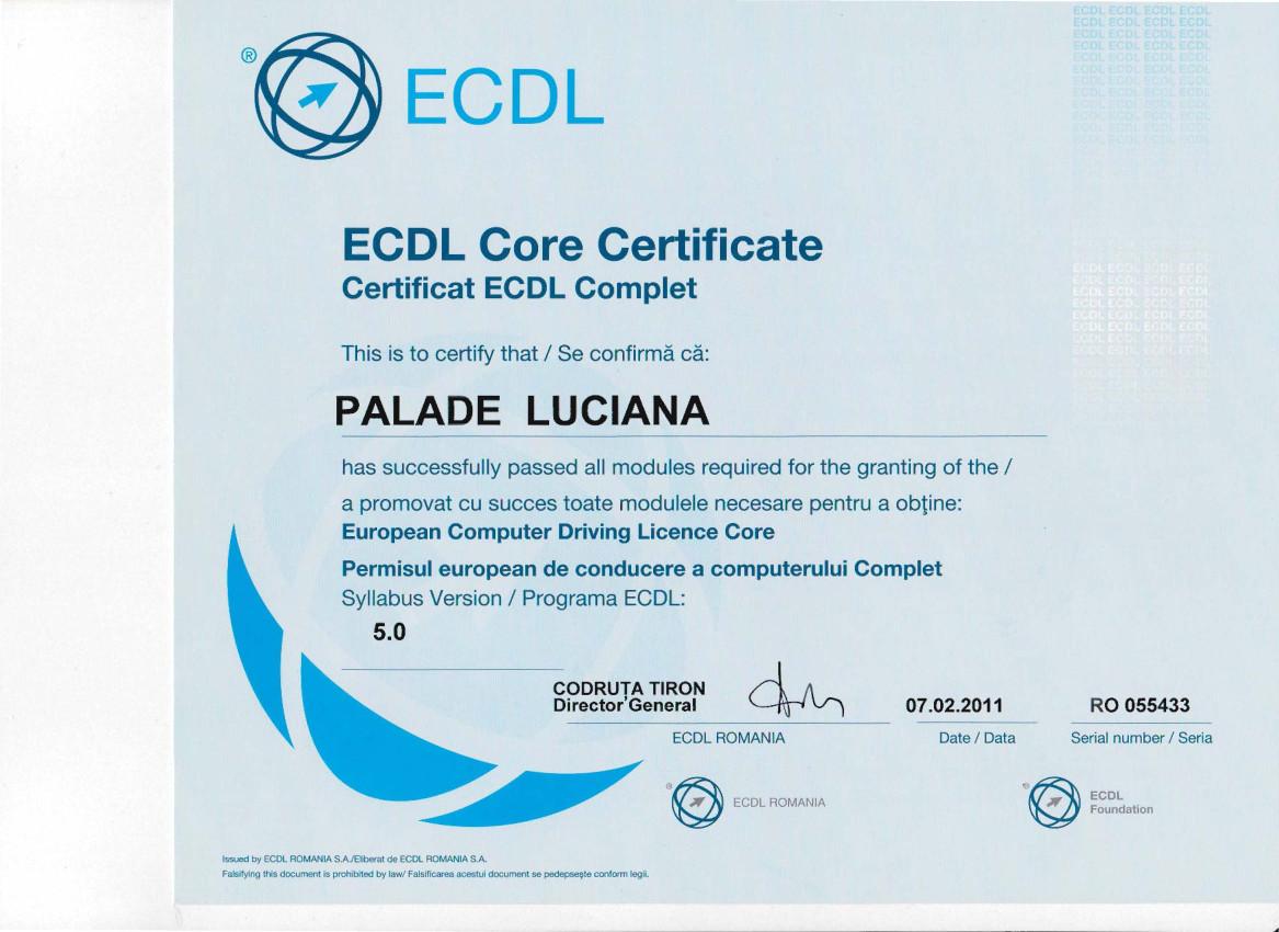 Certificare ECDL Complet Bercean Luciana