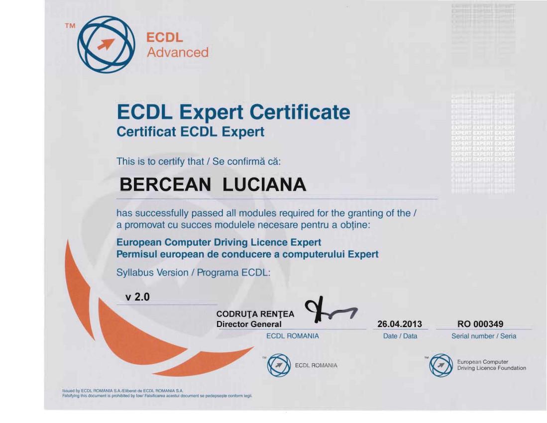 Certificare ECDL Expert Bercean Luciana