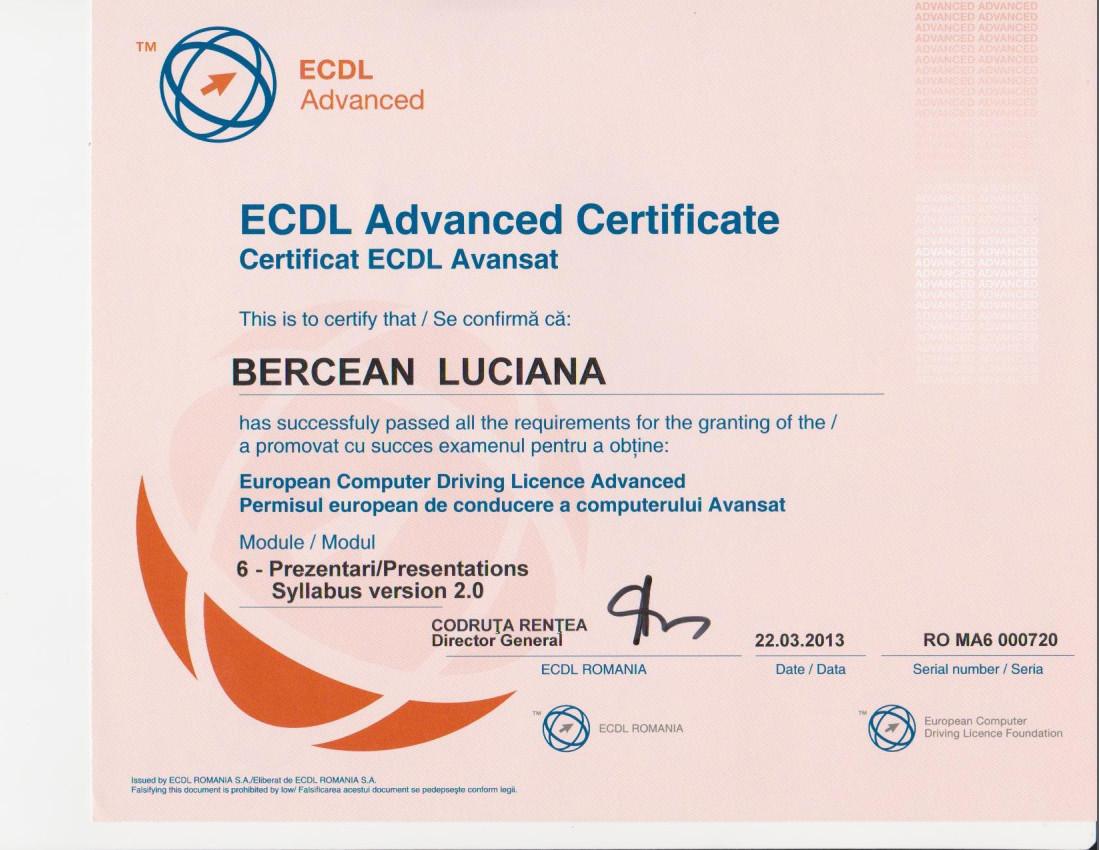 Certificare ECDL Avansat PowerPoint- Bercean Luciana