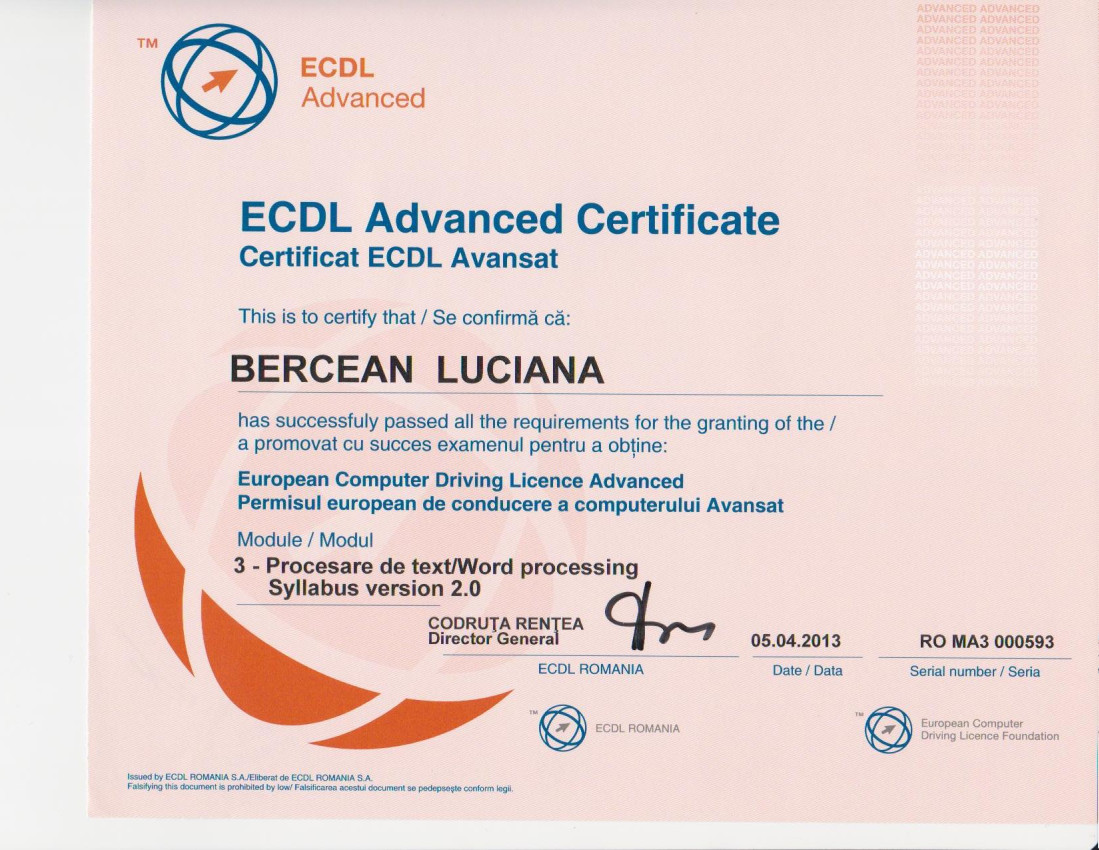 Certificare ECDL Avansat Word - Bercean Luciana
