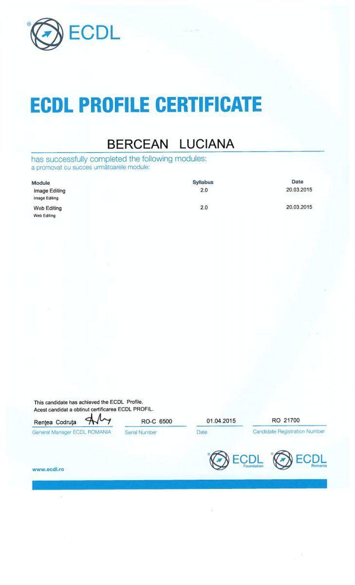 Certificare ECDL Expert WebEditing+ImageEditing- Bercean Luciana